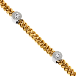 Mens Diamond Franco Station Bracelet 14K Two Tone Gold 4mm 9""
