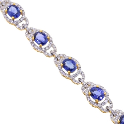 18K Yellow Gold 8.26 ct Blue Sapphire Diamond Halo Bracelet 7 inch