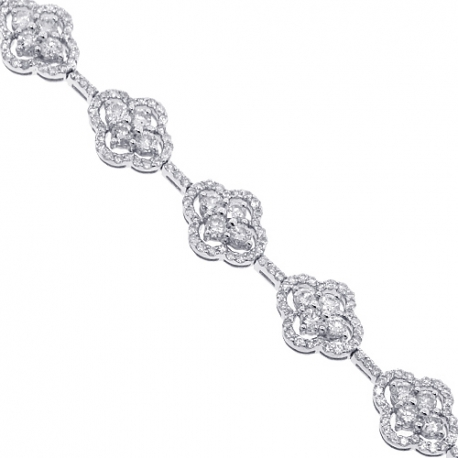 Womens Diamond Cluster Bracelet 14K White Gold 5.27 ct 9mm 7""