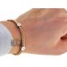"Mens Diamond Franco Station Bracelet 14K Two Tone Gold 4mm 9"""