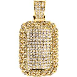 Mens Diamond Cuban Frame Dog Tag Pendant 14K Yellow Gold 2.81 ct