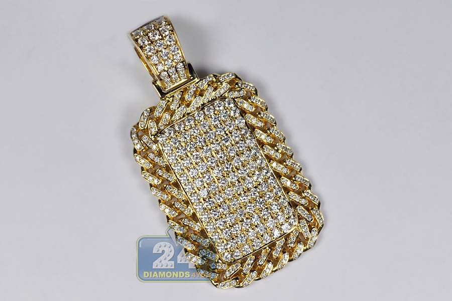 Mens diamond cuban frame dog tag pendant 14k yellow gold 281 ct mozeypictures Images