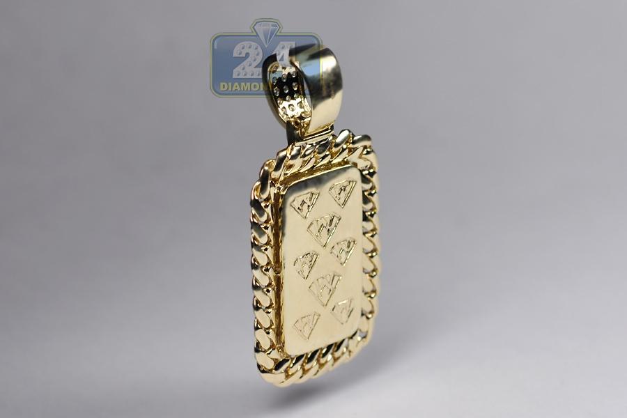 Mens diamond cuban frame dog tag pendant 14k yellow gold 281 ct aloadofball Choice Image