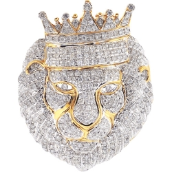 14K Yellow Gold 2.76 ct Diamond Pave King Lion Head Pendant
