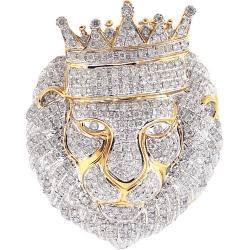 14K Yellow Gold 2.76 ct Diamond Pave King Lion Head Pendant