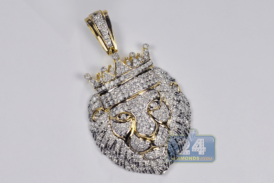 Mens diamond crown king lion head pendant 14k yellow gold 276 ct aloadofball Choice Image