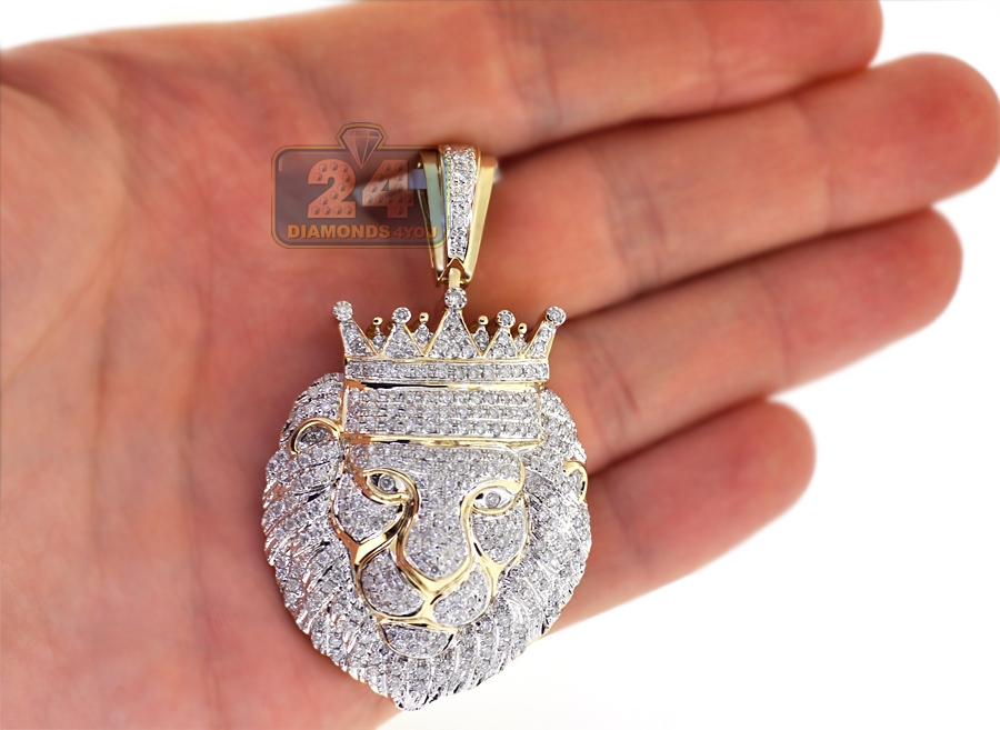 Mens diamond pave king lion head pendant 14k yellow gold 276 aloadofball Image collections