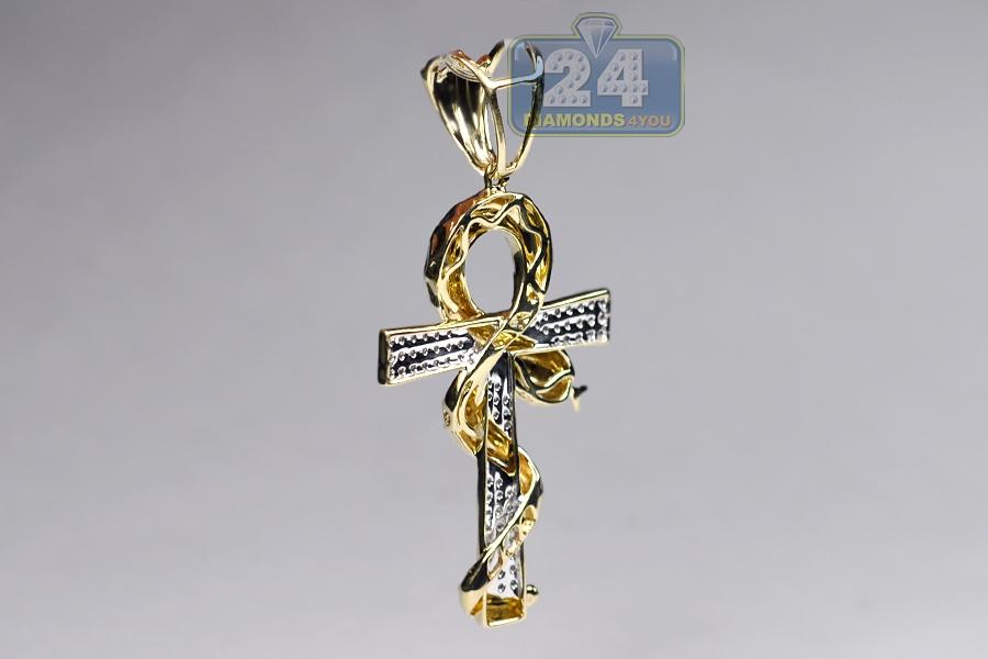 Mens diamond snake ankh cross pendant 10k yellow gold 031ct aloadofball Gallery