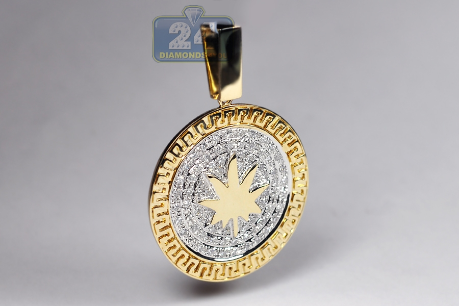Mens Diamond Marijuana Leaf Pendant 10k Yellow Gold 0 88 Ct