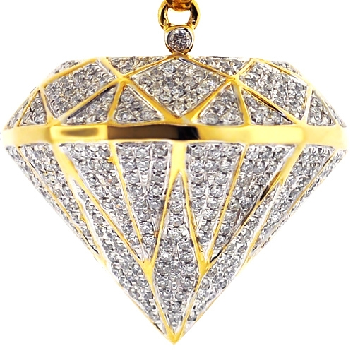 Mens Loose Diamond Shape 3d Pendant 14k Yellow Gold 1 60 Carat