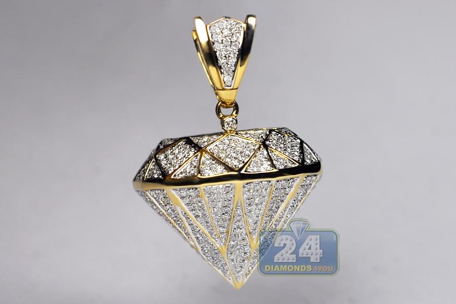 Mens loose diamond shape 3d pendant 14k yellow gold 160 carat aloadofball Images