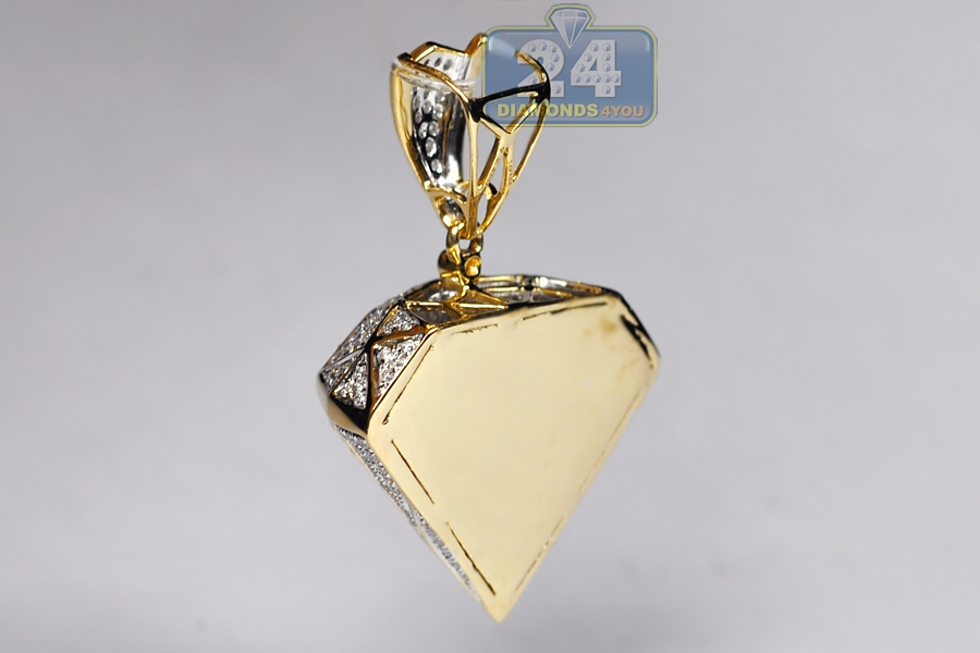 Mens Loose Diamond Shape 3d Pendant 14k Yellow Gold 1 60 Carat