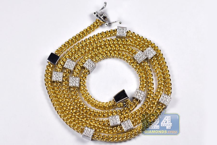 station franco diamond link mm mens chain inches square gold inch ct