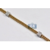 Mens Diamond Station Link Franco Chain 14K Gold 3.23ct 4mm 30""