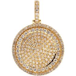 10K Yellow Gold 4.42 ct Diamond Round Medallion Pendant