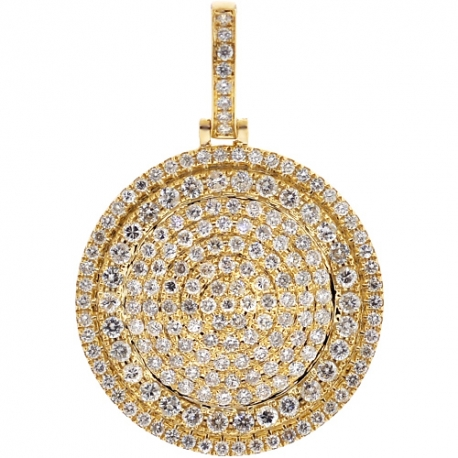Mens Diamond Circle Medallion Pendant 10K Yellow Gold 3.21ct