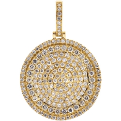 10K Yellow Gold 3.21 ct Diamond Circle Medallion Pendant