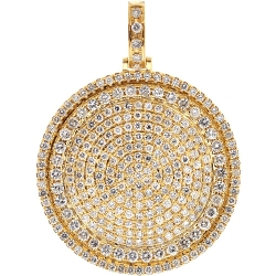 14K Yellow Gold 5.20 ct Diamond Round Medallion Mens Pendant