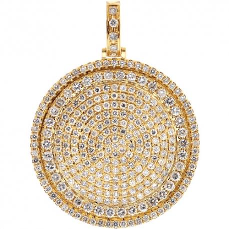 "Mens Diamond Round Medallion Pendant 14K Yellow Gold 5.20 ct 2"""