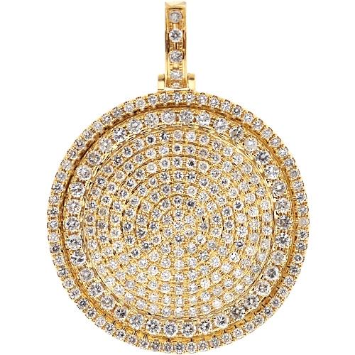 Mens Diamond Pendant Necklace Mens diamond round medallion pendant 14k yellow gold 520 ct 2 audiocablefo