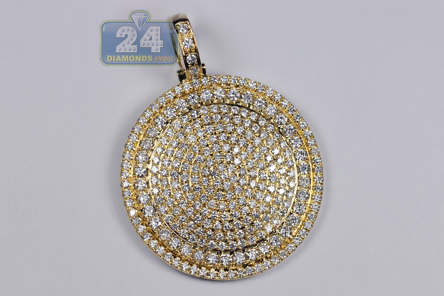 Mens diamond round medallion pendant 14k yellow gold 520 ct 2 aloadofball Gallery