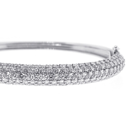 Womens Diamond Bangle Bracelet 18K White Gold 8.53 ct 6.75 inch