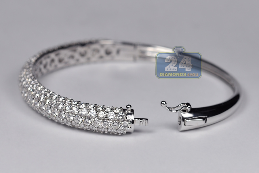 Womens Diamond Bangle Bracelet 18k White Gold 8 53 Ct 6 75