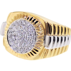 Mens Diamond Step Ring 14K Two Tone Gold 0.63 ct