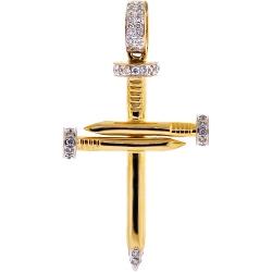 10K Yellow Gold 0.20 ct Diamond Nail Cross Religious Pendant