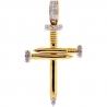 10K Yellow Gold Diamond Nail Cross Mens Womens Small Pendant