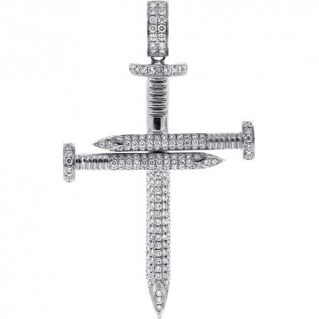 Mens Diamond Nail Cross Large Pendant 10K White Gold 3.51 ct