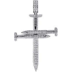 10K White Gold 3.51 ct Diamond Nail Cross Large Pendant