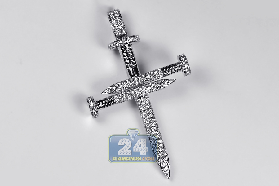 Mens diamond nail cross large pendant 10k white gold 351 ct mozeypictures Image collections