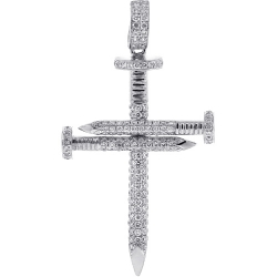 14K White Gold 0.81 ct Diamond Mens Nail Cross Pendant