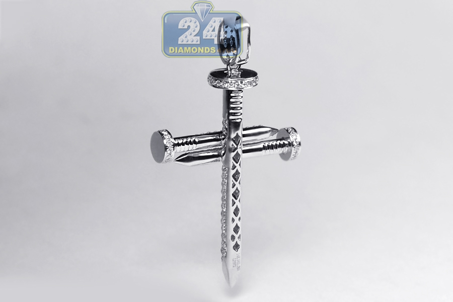 Mens Diamond Religious Nail Cross Pendant 14K White Gold 0.81ct