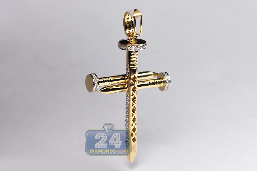 Mens diamond religious nail cross pendant 14k yellow gold 082ct aloadofball Images