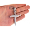 Mens Diamond Nail Cross Large Pendant 14K White Gold 3.50 ct