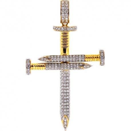 Mens Diamond Nail Cross Large Pendant 14K Yellow Gold 3.53 ct