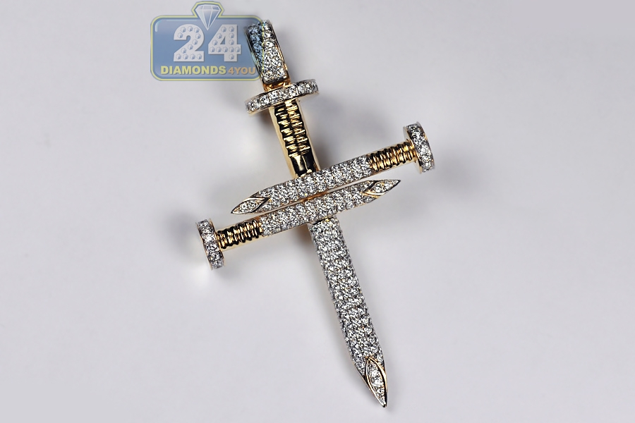 Mens Diamond Nail Cross Large Pendant 14K Yellow Gold 3.53 ct