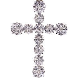 Mens Diamond Cluster Cross Pendant 10K Yellow Gold 4.68 ct 2.5""