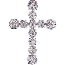 10K Yellow Gold 4.68 ct Diamond Cluster Mens Cross Pendant