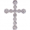 "Mens Diamond Cluster Cross Pendant 10K Yellow Gold 4.68 ct 2.5"""