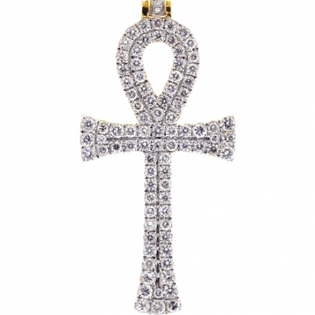 Mens Diamond Key of Life Ankh Cross 14K Yellow Gold 2.20ct 2.25""