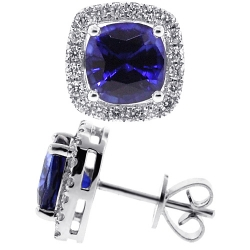 Womens Blue Sapphire Diamond Halo Stud Earrings 18K White Gold