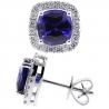 Womens Blue Sapphire Diamond Halo Stud Earrings 18K White Gold