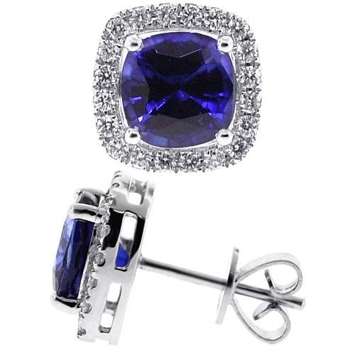 1d5543feb Womens Blue Sapphire Diamond Halo Stud Earrings 18K White Gold