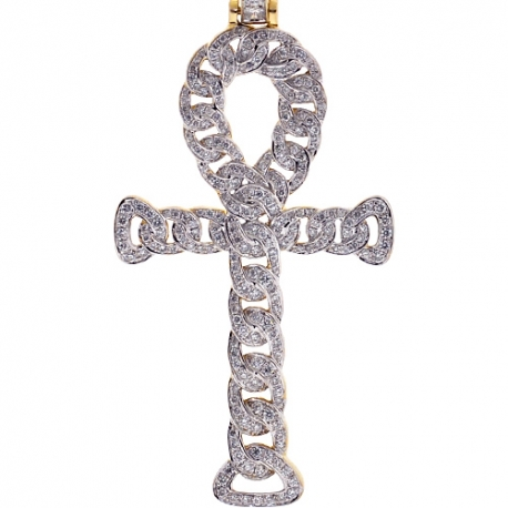 Mens Diamond Cuban Ankh Cross Pendant 14K Yellow Gold 1.88ct