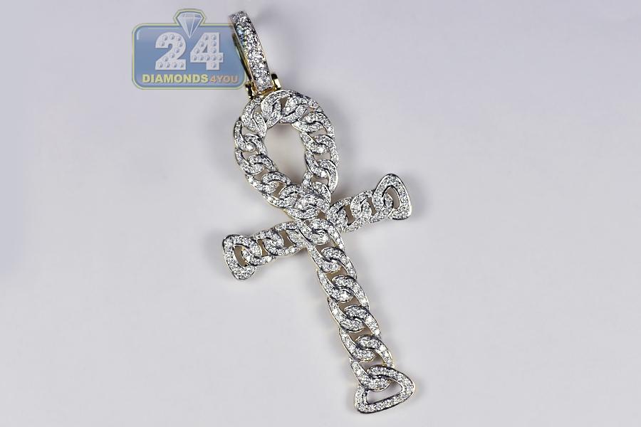 Mens Diamond Cuban Ankh Cross Pendant 14K Yellow Gold 188 Carat
