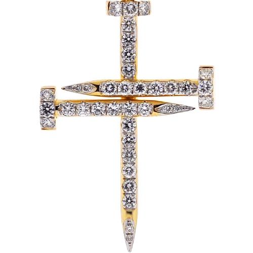 Mens diamond nail cross pendant 14k yellow gold 184 ct 2 aloadofball Images