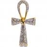 Womens Diamond Ankh Life Cross Pendant 14K Yellow Gold 0.18ct